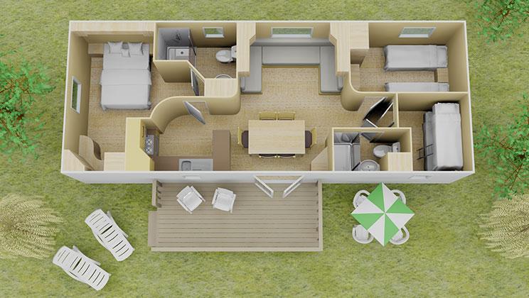 Espace stacaravan 3 slaapkamers en 2 badkamers 8 personen eurocamp campingvakanties - Slaapkamer lay outs ...