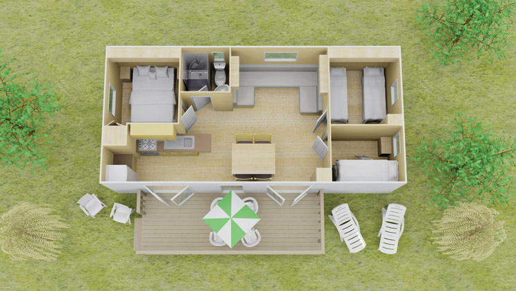 Vista stacaravan 3 slaapkamer 8 personen eurocamp campingvakanties - Plan ouderslaapkamer met badkamer en kleedkamer ...