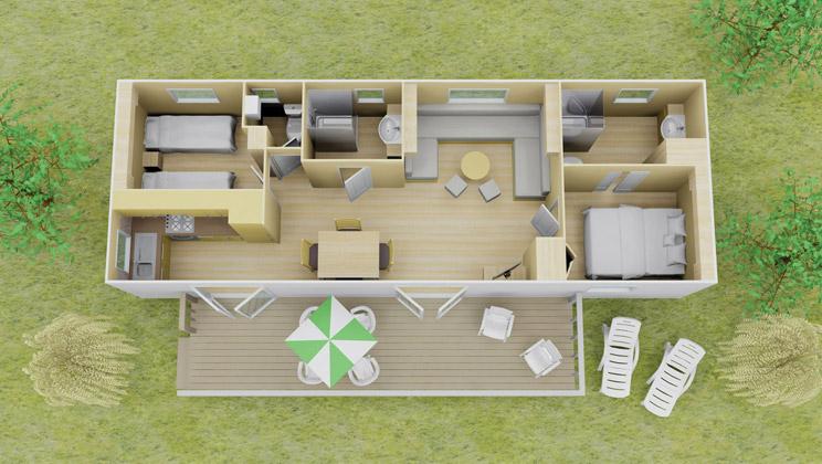 Vista plus stacaravan 2 slaapkamer 2 badkamers 6 personen eurocamp campingvakanties - Plan ouderslaapkamer met badkamer en kleedkamer ...
